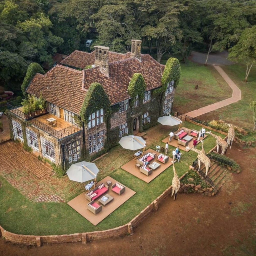 Aerial view of Giraffe Manor.