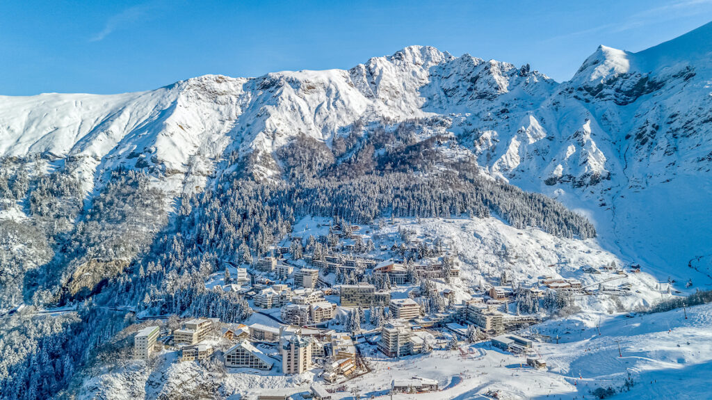 Aerial view of Gourette, a ski resort in France.