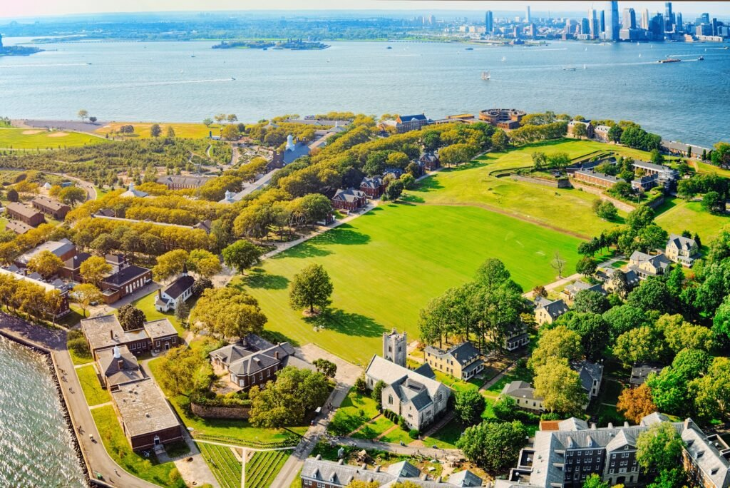 Aerial view of Governors Island, New York.