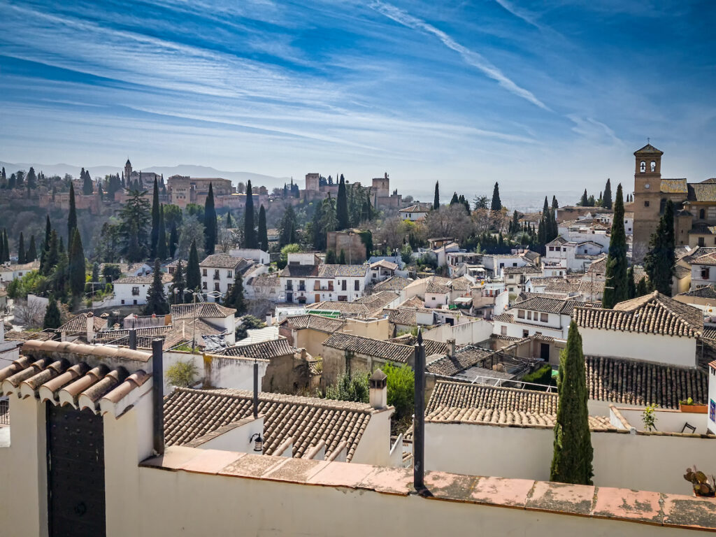 Aerial view of Granada, Spain, during February.