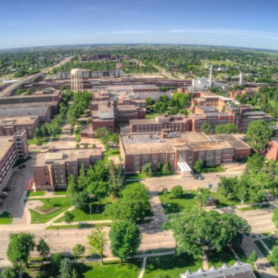 Aerial view of Grand Forks, North Dakota.