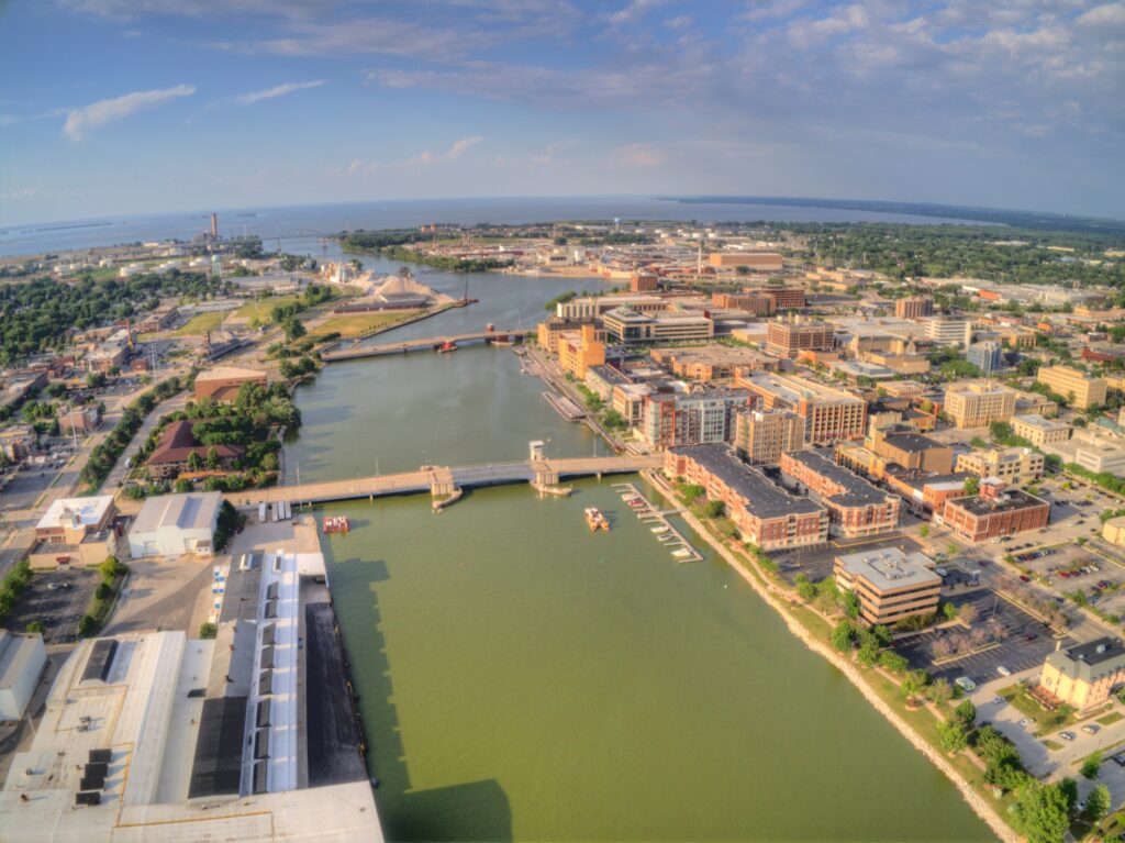 Aerial view of Green Bay, Wisconsin.