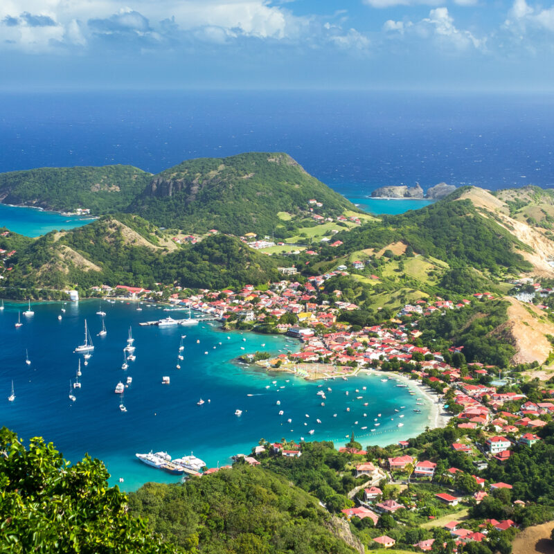 Aerial view of Guadeloupe island, a French Overseas Territory.