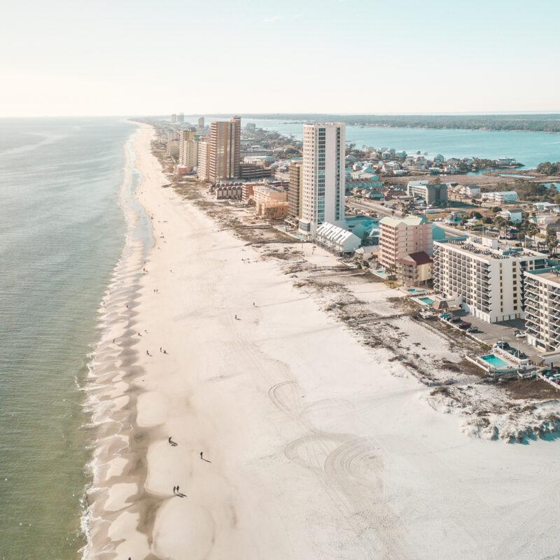 Aerial view of Gulf Shores, Alabama.