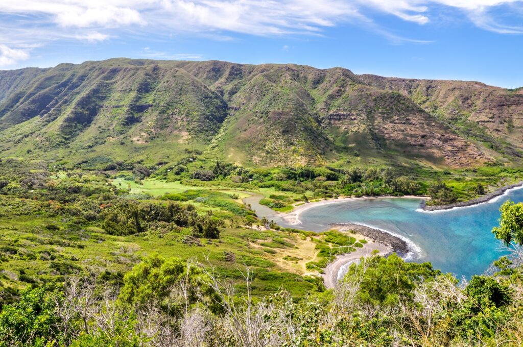 Aerial view of Halawa Valley in Molokai.