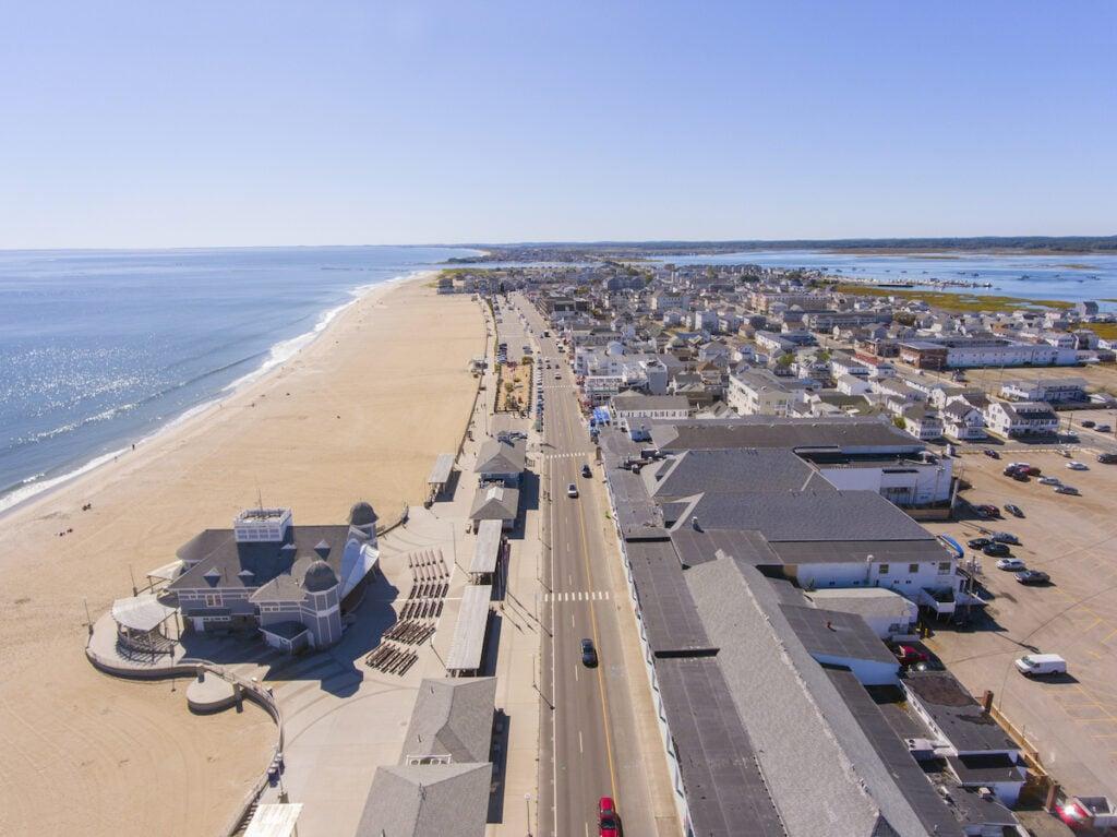 Aerial view of Hampton Beach, New Hampshire.