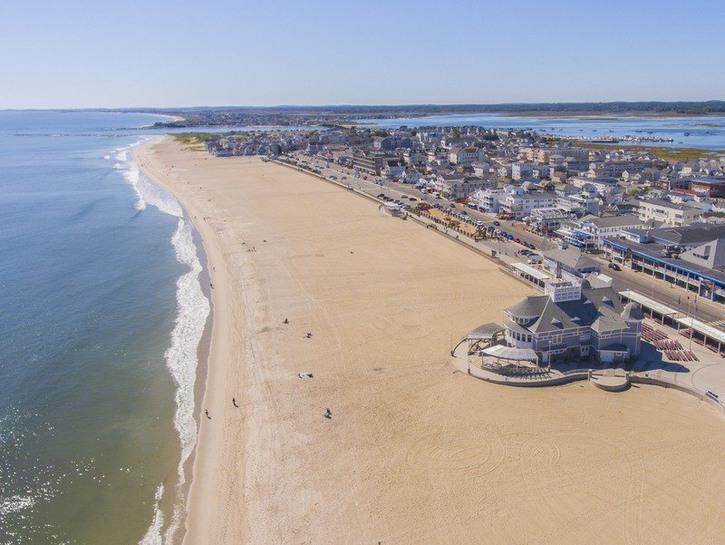 Aerial view of Hampton Beach in NH