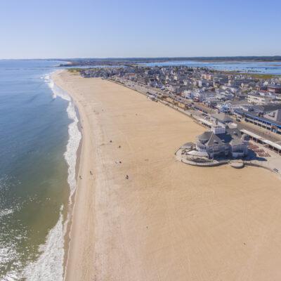 Aerial view of Hampton Beach in New Hampshire.