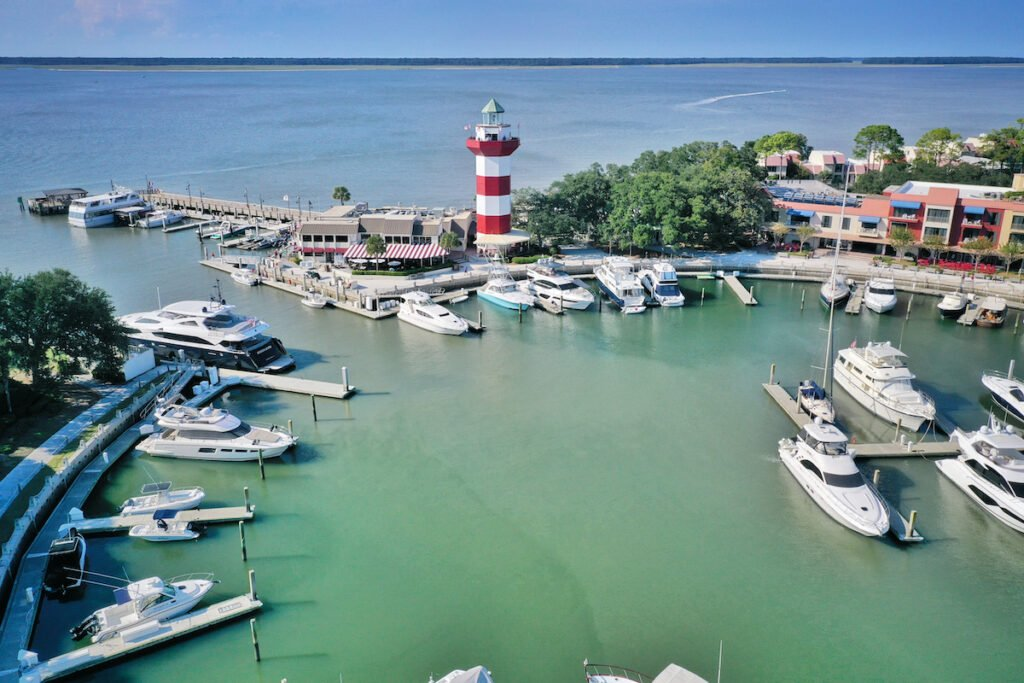 Aerial view of Harbour Town on Hilton Head island.
