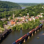 Aerial view of Harpers Ferry, West Virginia.