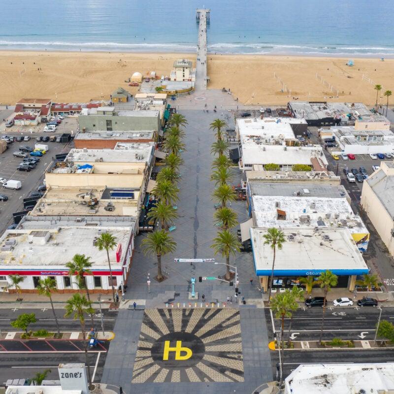 Aerial view of Hermosa Beach, California.