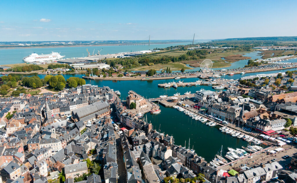 Aerial view of Honfleur's Old Harbour.