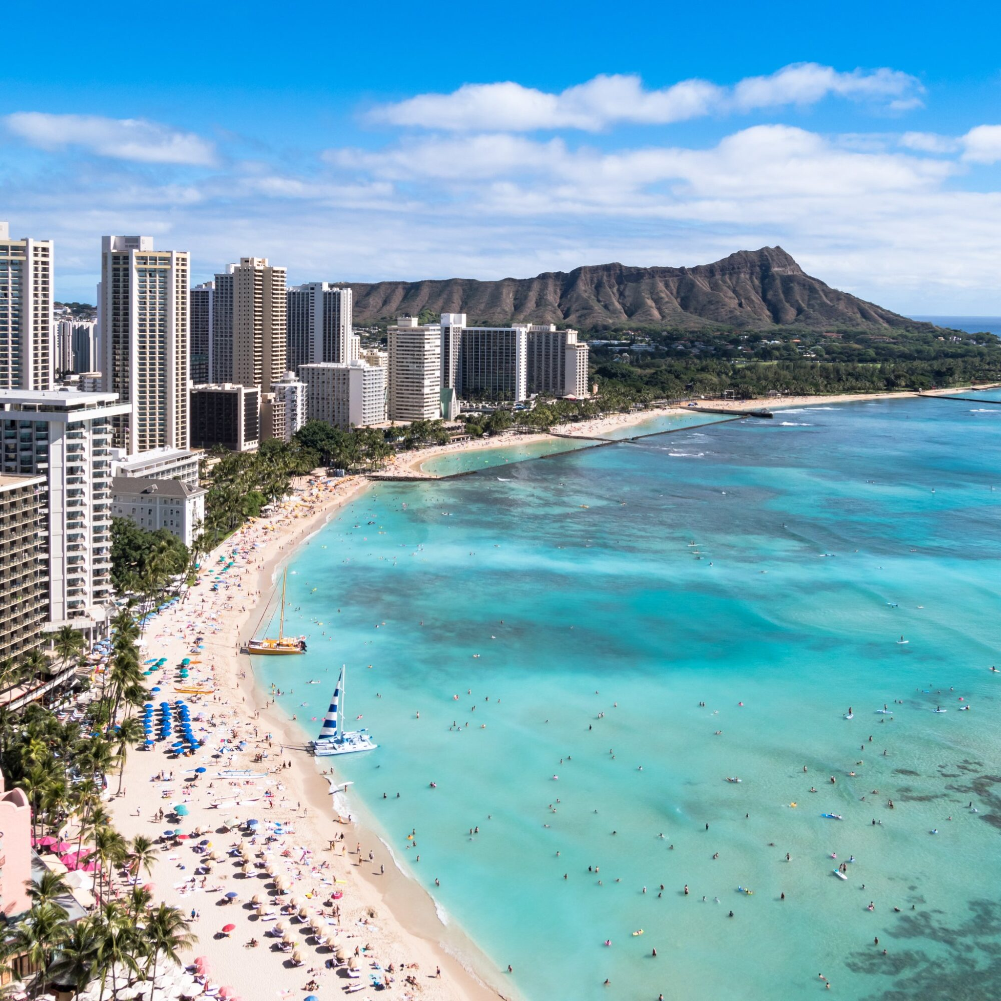 Aerial view of Honolulu and Diamond Head on the island of Oahu.