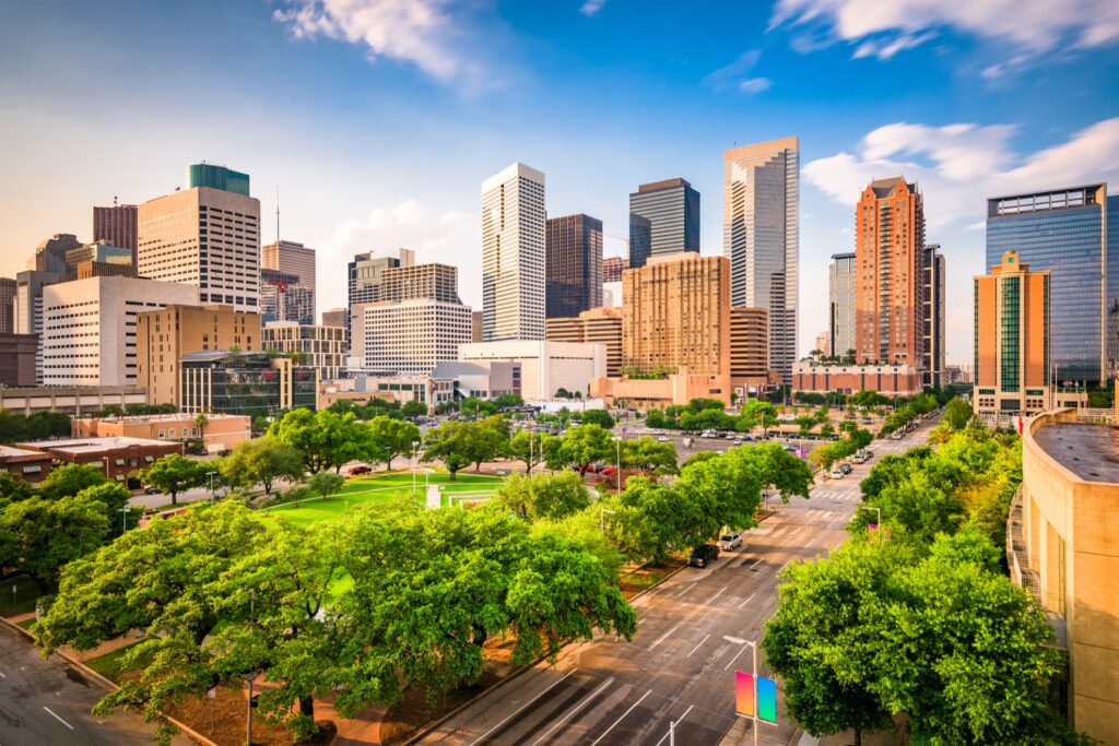 Aerial view of Houston, Texas.