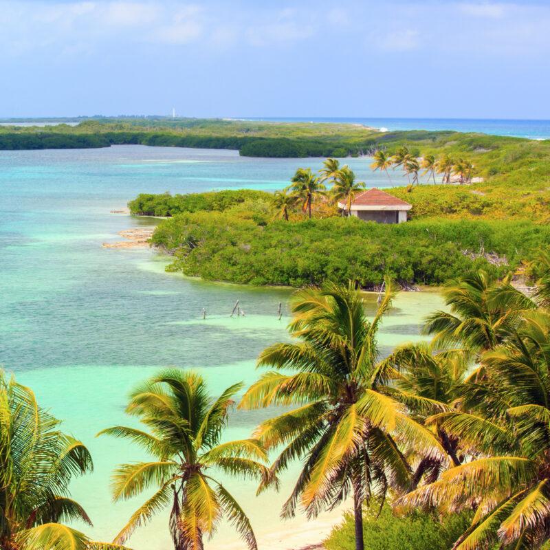 Aerial view of Isla Contoy near Isla Mujeres.
