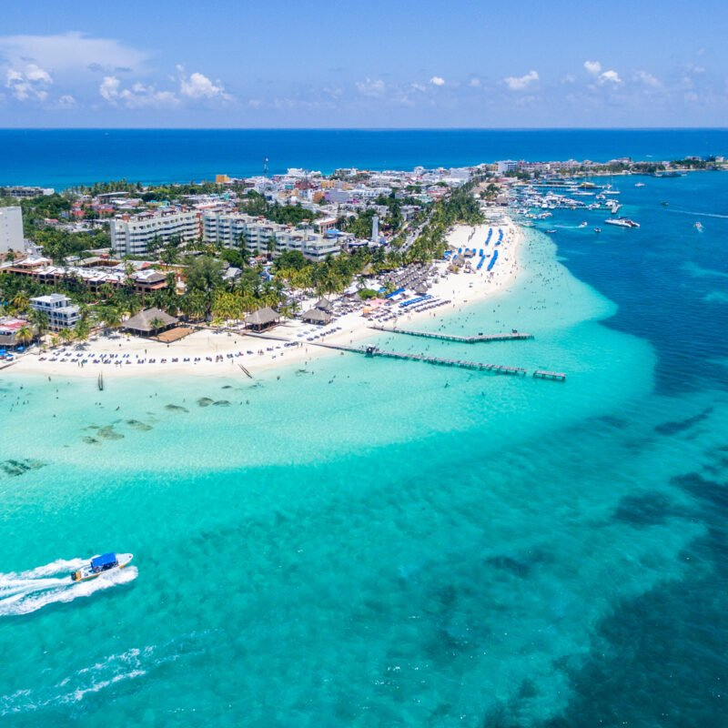 Aerial view of Isla Mujeres near Cancun, Mexico.