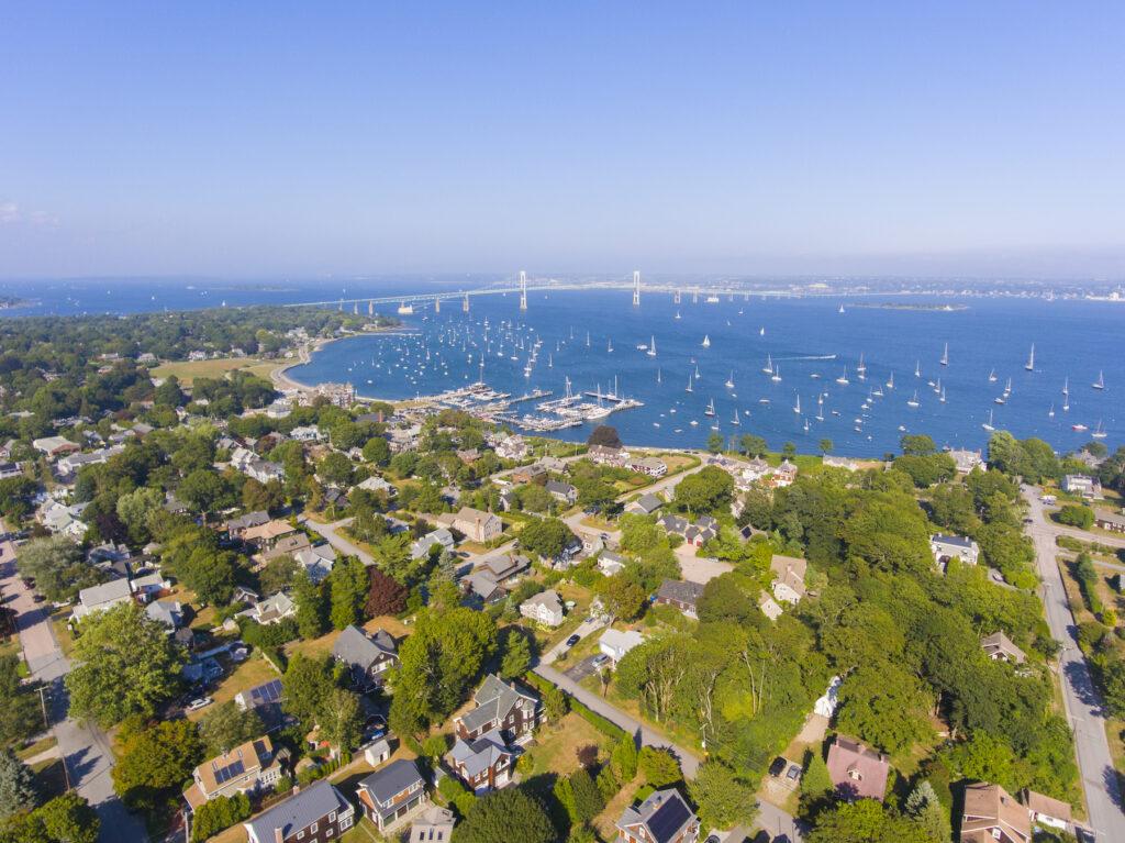 Aerial view of Jamestown on Conanicut Island.