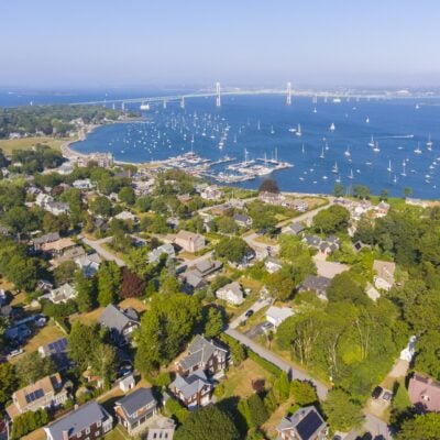 Aerial view of Jamestown, Rhode Island.