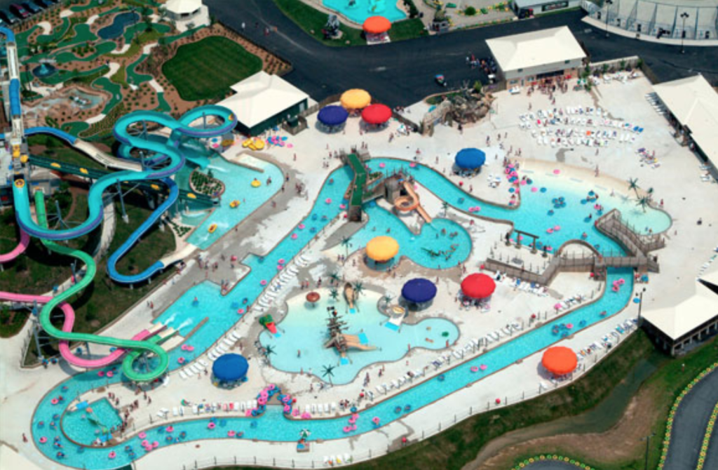 Aerial view of Jungle Jim's water park.