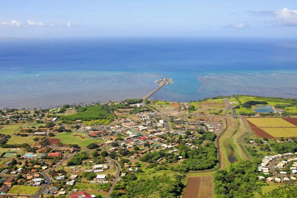 Aerial view of Kaunakakai, Hawaii.