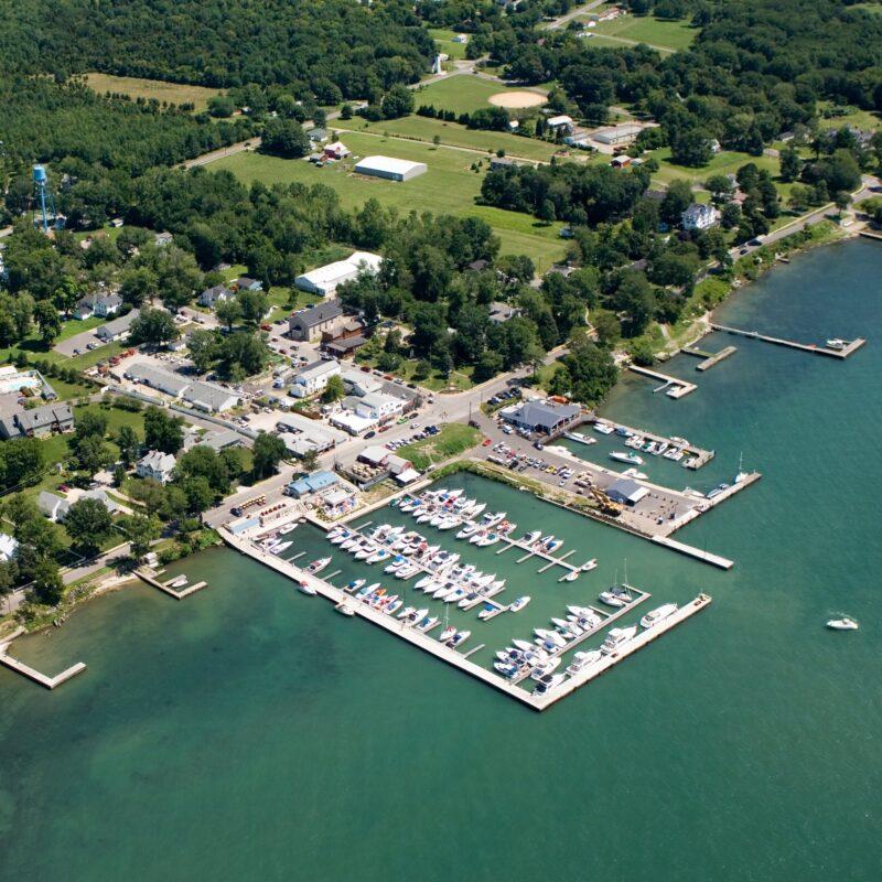 Aerial view of Kelleys Island in Ohio.
