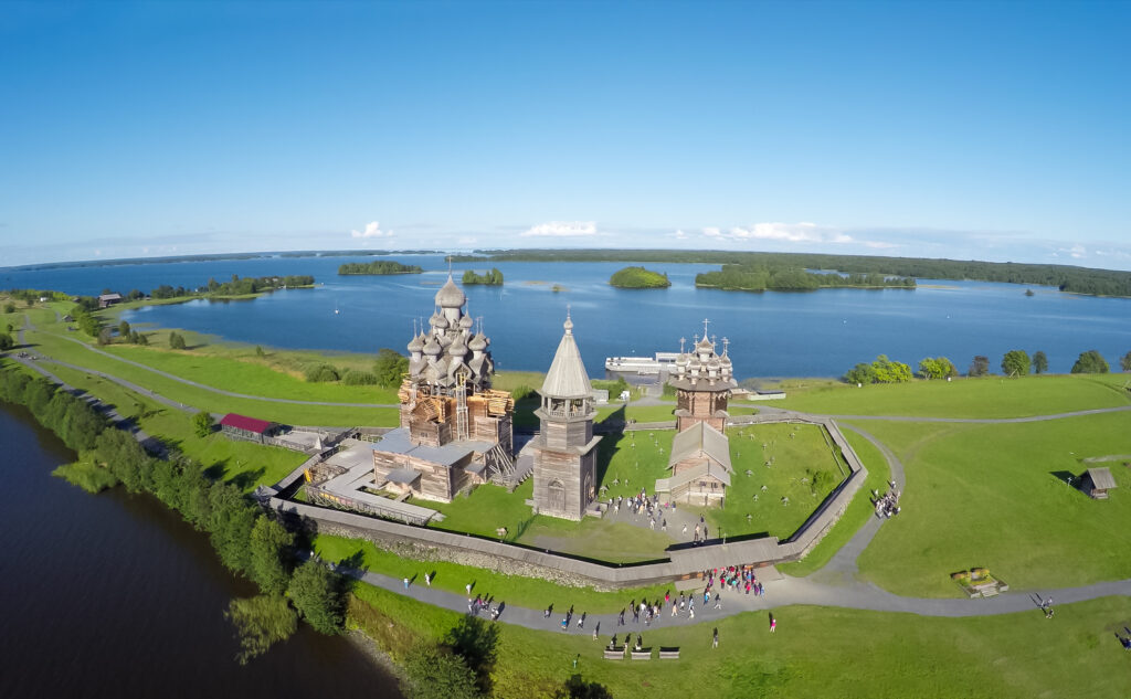 Aerial view of Kizhi Island in Russia.