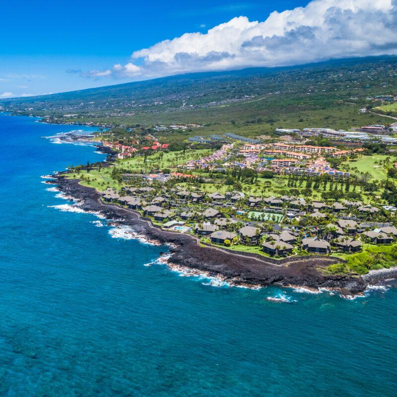Aerial view of Kona, Hawaii.
