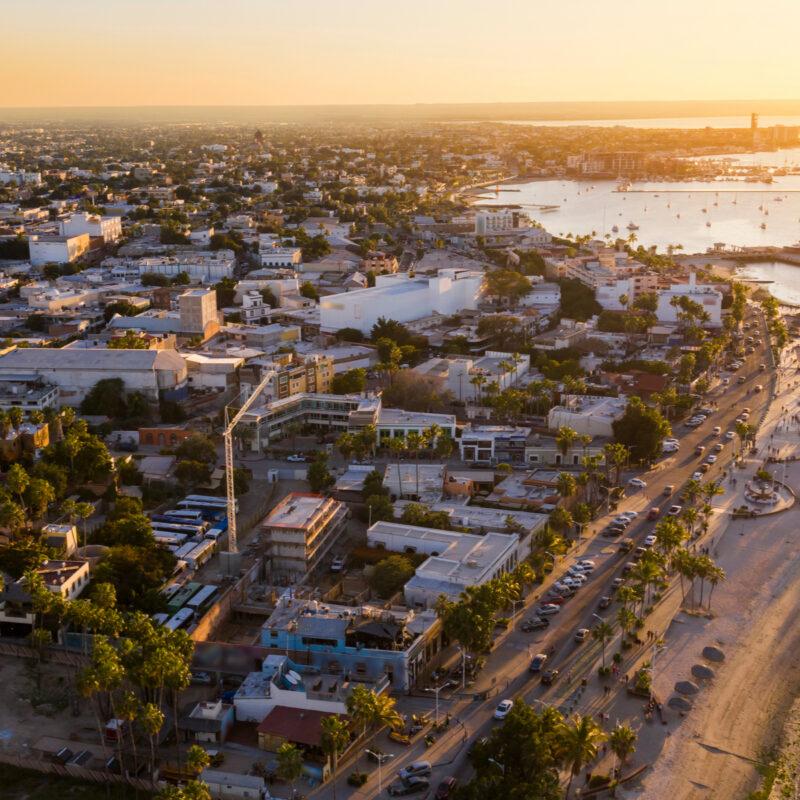 Aerial view of La Paz, Baja California Sur, Mexico.