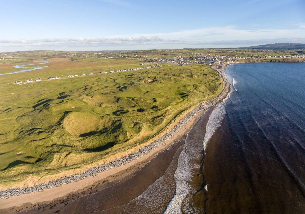 Aerial view of Lahinch in County Clare, Ireland.