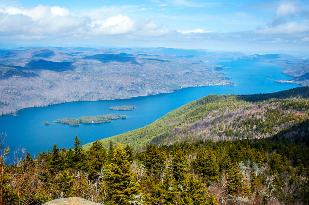 Aerial view of Lake George in New York.
