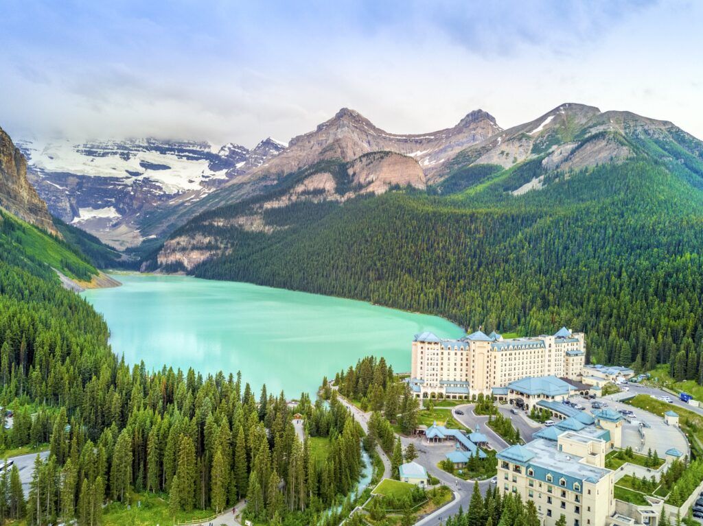 Aerial view of Lake Louise.