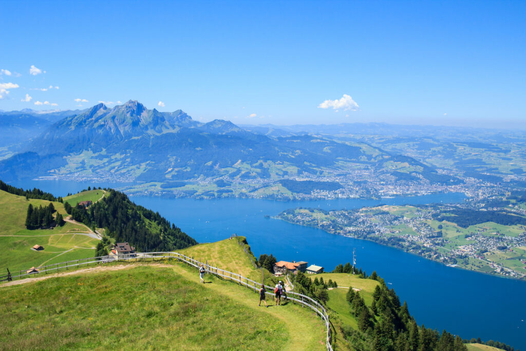 Aerial view of Lake Lucerne from Mount Rigi.