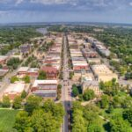 Aerial view of Lawrence, Kansas.