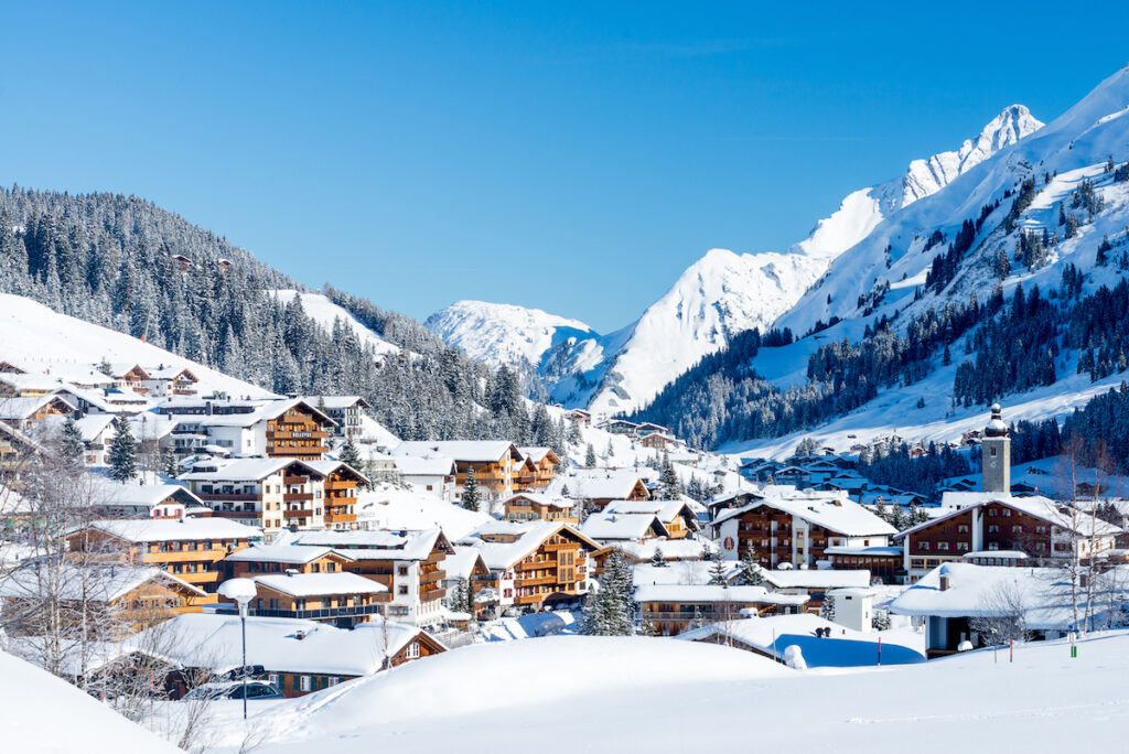 Aerial view of Lech, Austria, during winter.