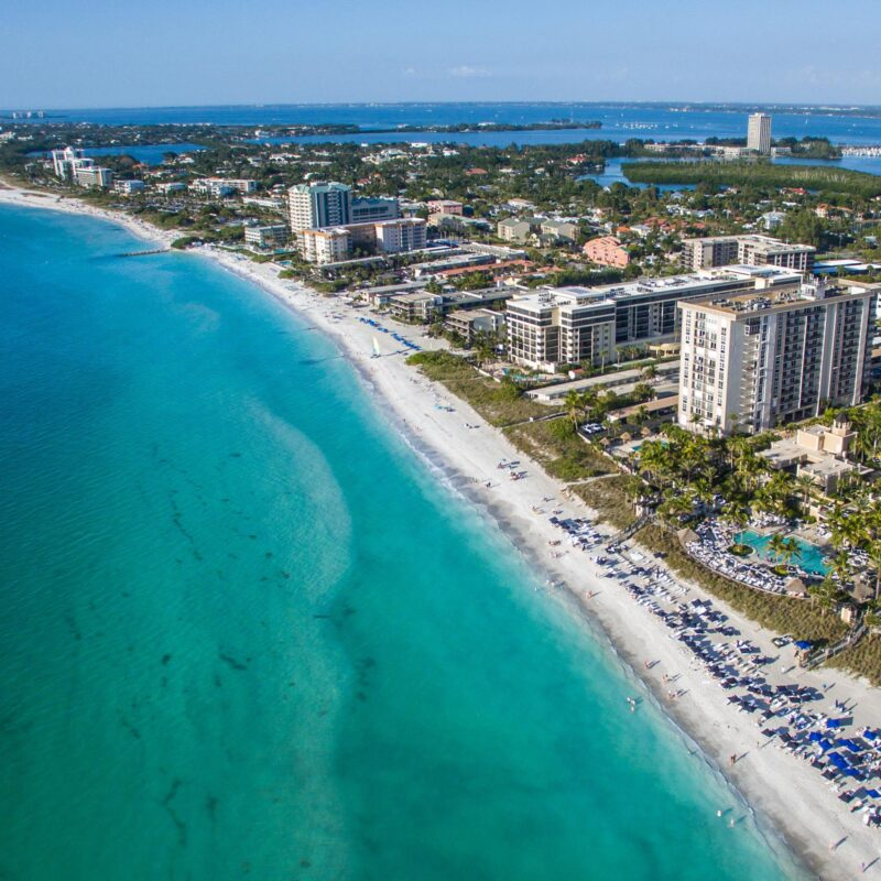 Aerial view of Lido Key in Sarasota, Florida.