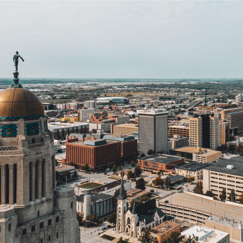 Aerial view of Lincoln, Nebraska.