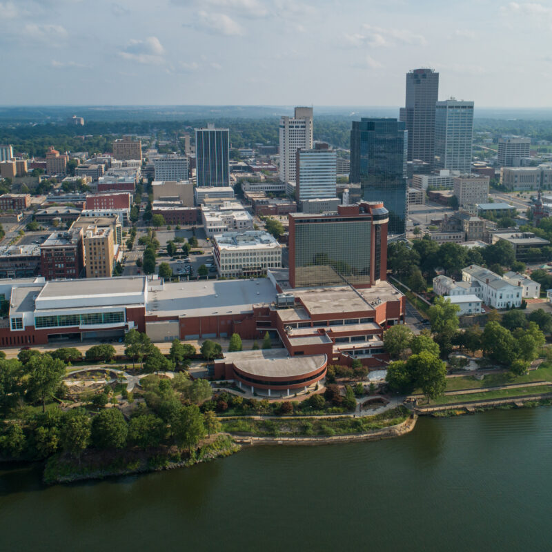Aerial view of Little Rock, Arkansas.