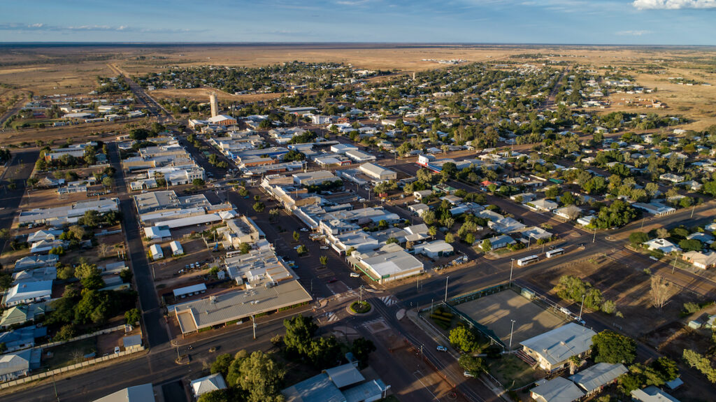 Aerial view of Longreach in Queensland, Australia.