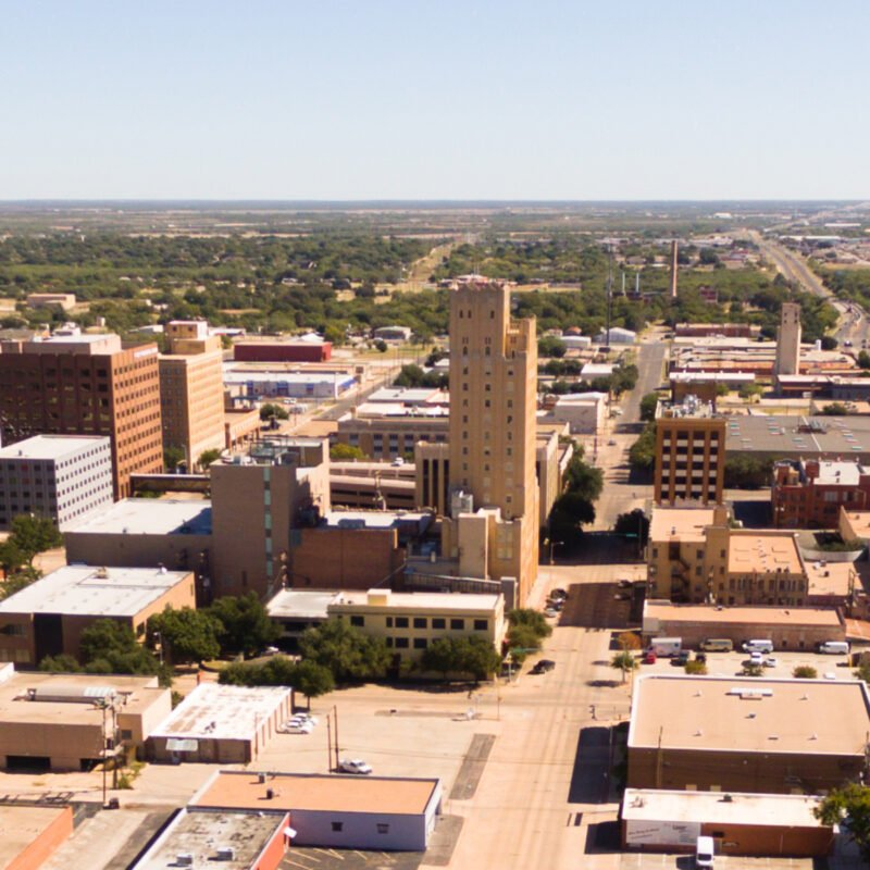 Aerial view of Lubbock, Texas.