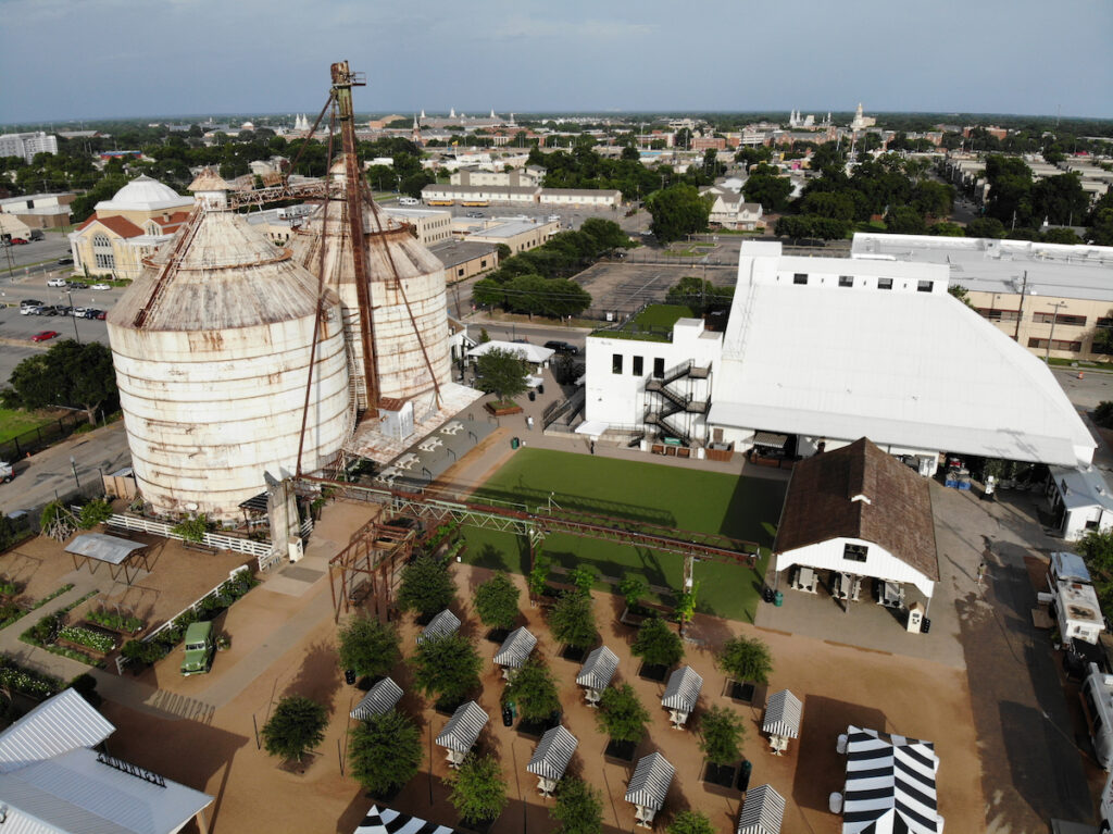 Aerial view of Magnolia Market in Waco, Texas.
