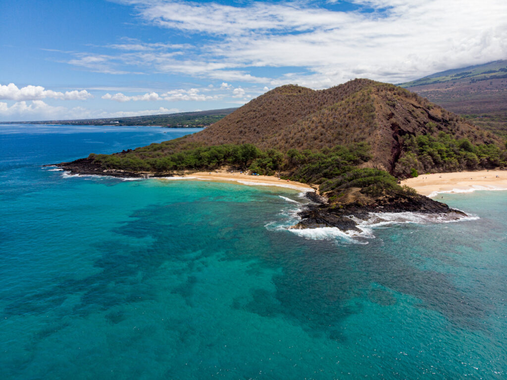 Aerial view of Makena State Park on the coast of Maui.