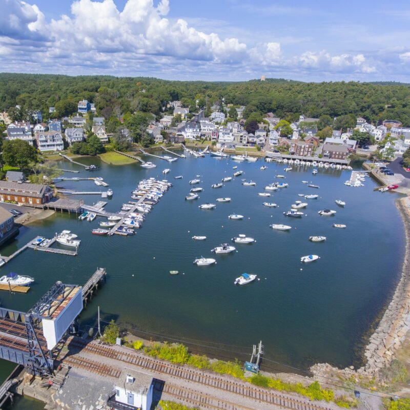 Aerial view of Manchester-By-The-Sea in Massachusetts.