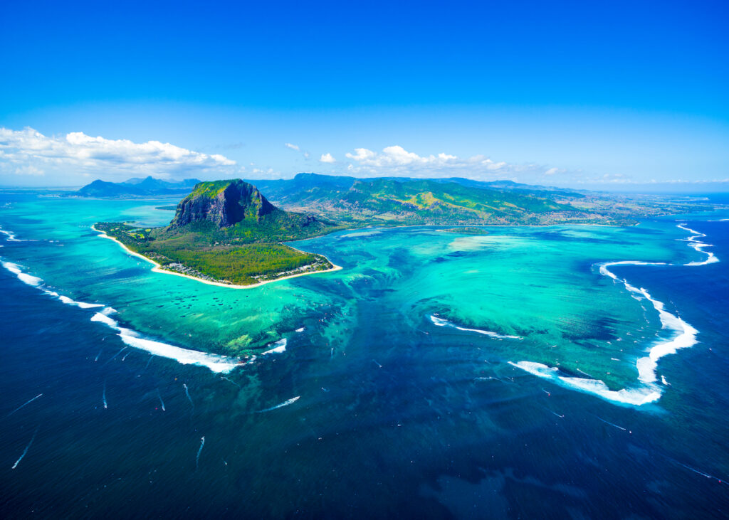 Aerial view of Mauritius.