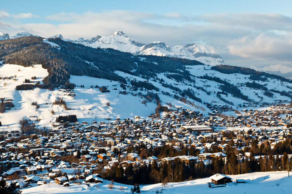 Aerial view of Megeve, a ski resort town in France.