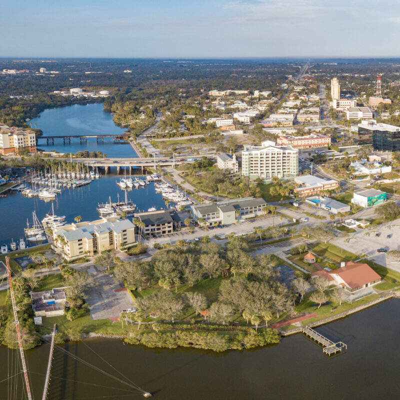 Aerial view of Melbourne, Florida.
