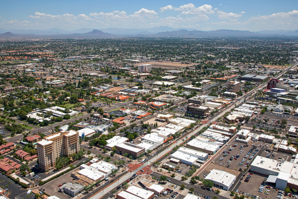 Aerial view of Mesa, Arizona.
