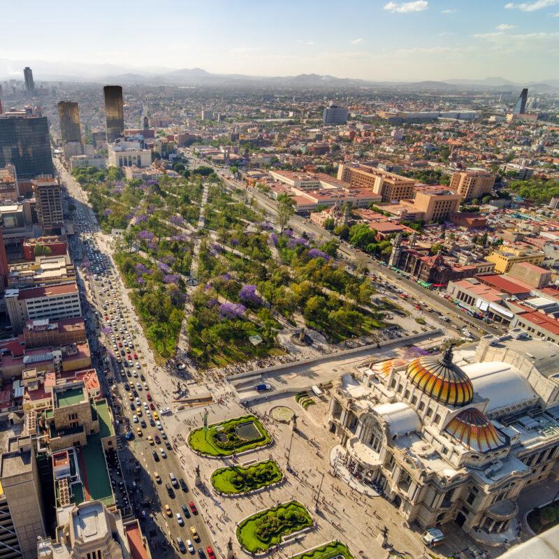 Aerial view of Mexico City, Mexico.