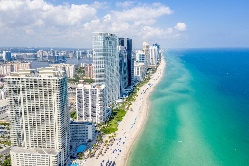 Aerial view of Miami, Florida.