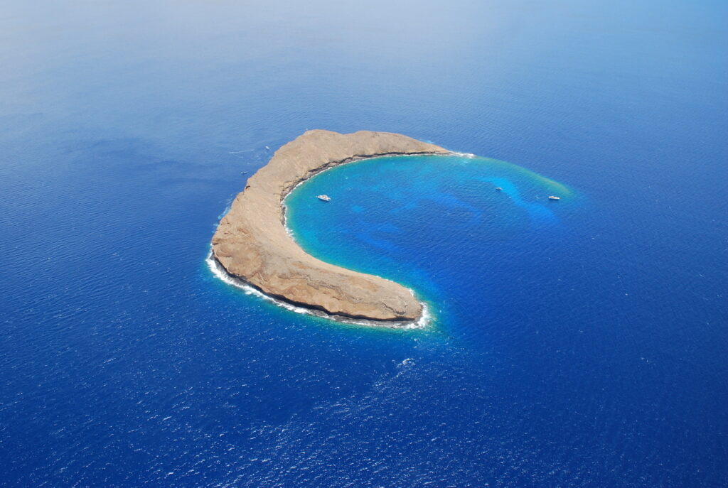 Aerial view of Molokini Crater, Hawaii.