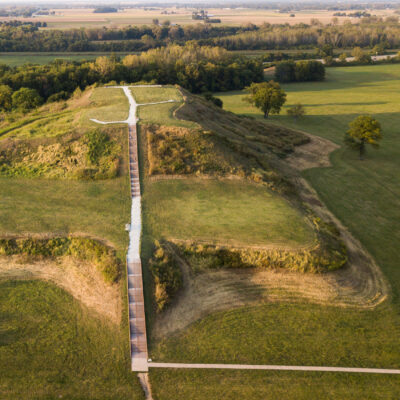 Aerial view of Monks Mound at Cahokia Mounds.